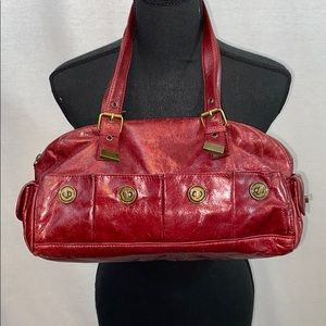 UEC red leather shoulder bag by Cynthia Rowely